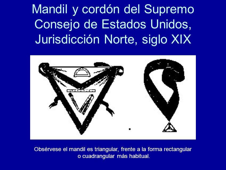 Mandil y cordón del Supremo Consejo de Estados Unidos, Jurisdicción Norte, siglo XIX
