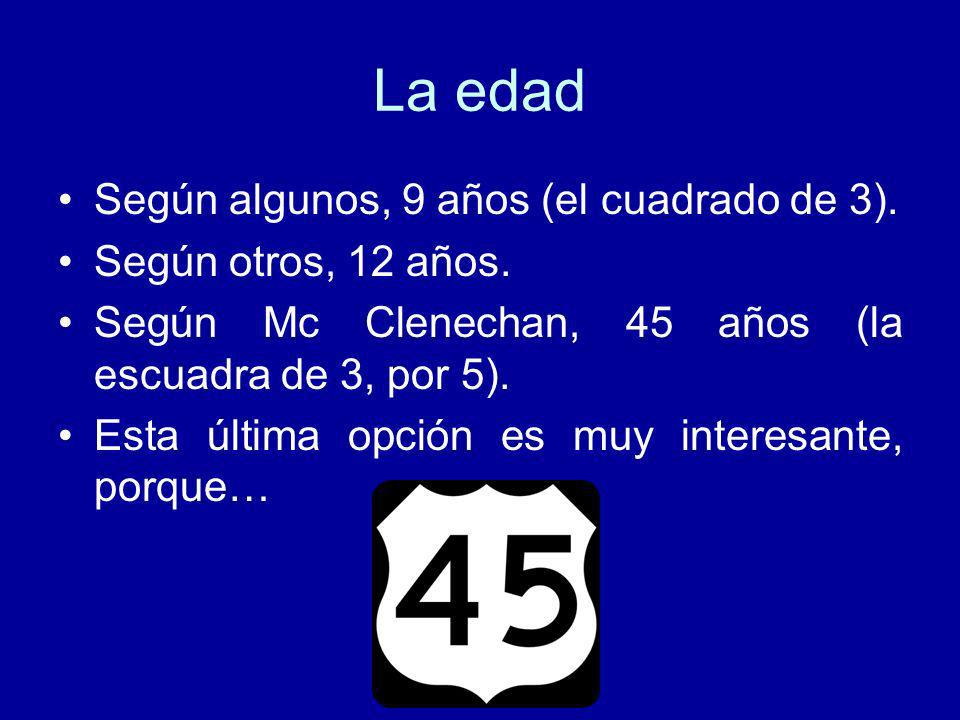 La edad Según algunos, 9 años (el cuadrado de 3).