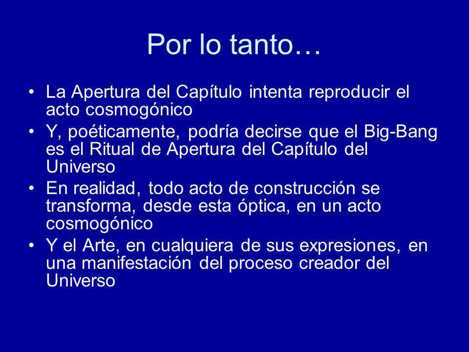 Por lo tanto… La Apertura del Capítulo intenta reproducir el acto cosmogónico.