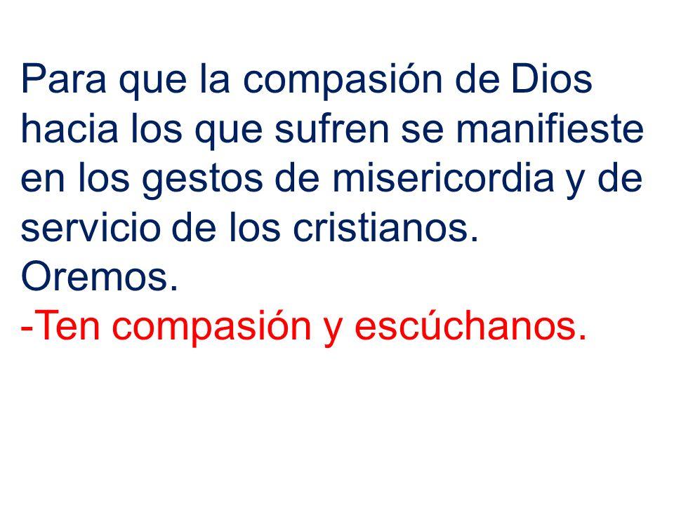 Para que la compasión de Dios hacia los que sufren se manifieste en los gestos de misericordia y de servicio de los cristianos.