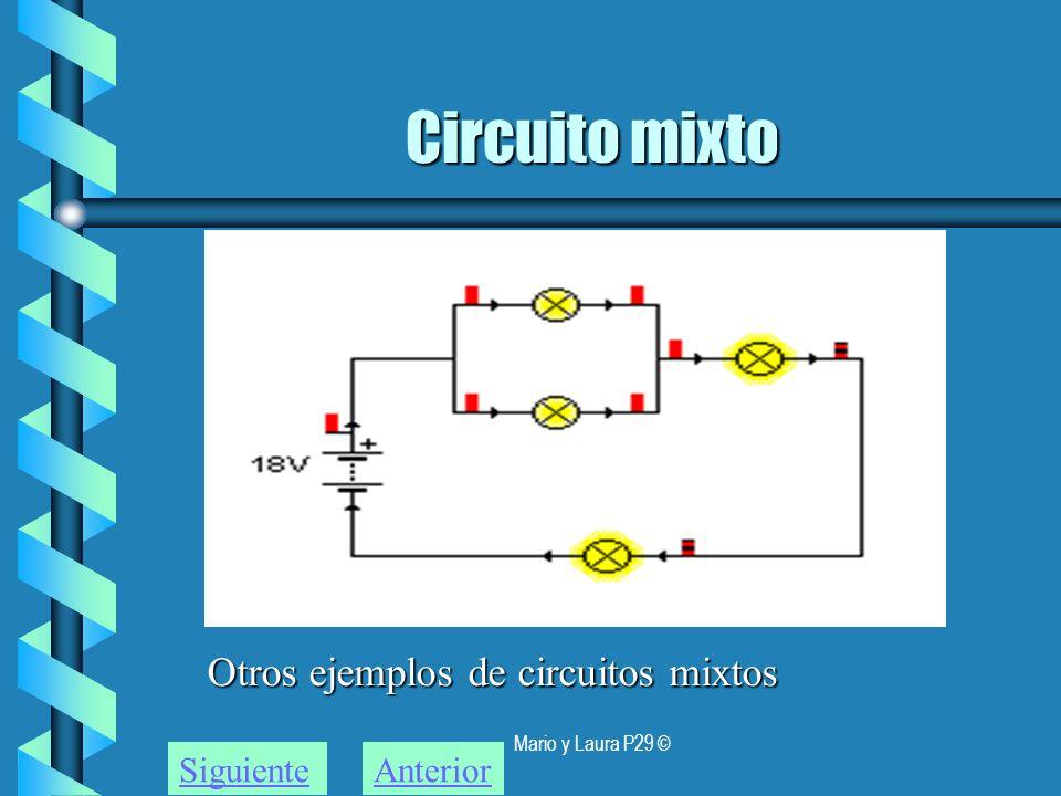 Circuito mixto Otros ejemplos de circuitos mixtos Siguiente Anterior