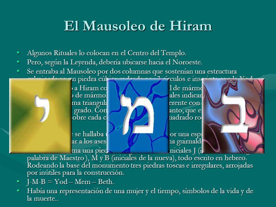 El Mausoleo de Hiram Algunos Rituales lo colocan en el Centro del Templo. Pero, según la Leyenda, debería ubicarse hacia el Noroeste.