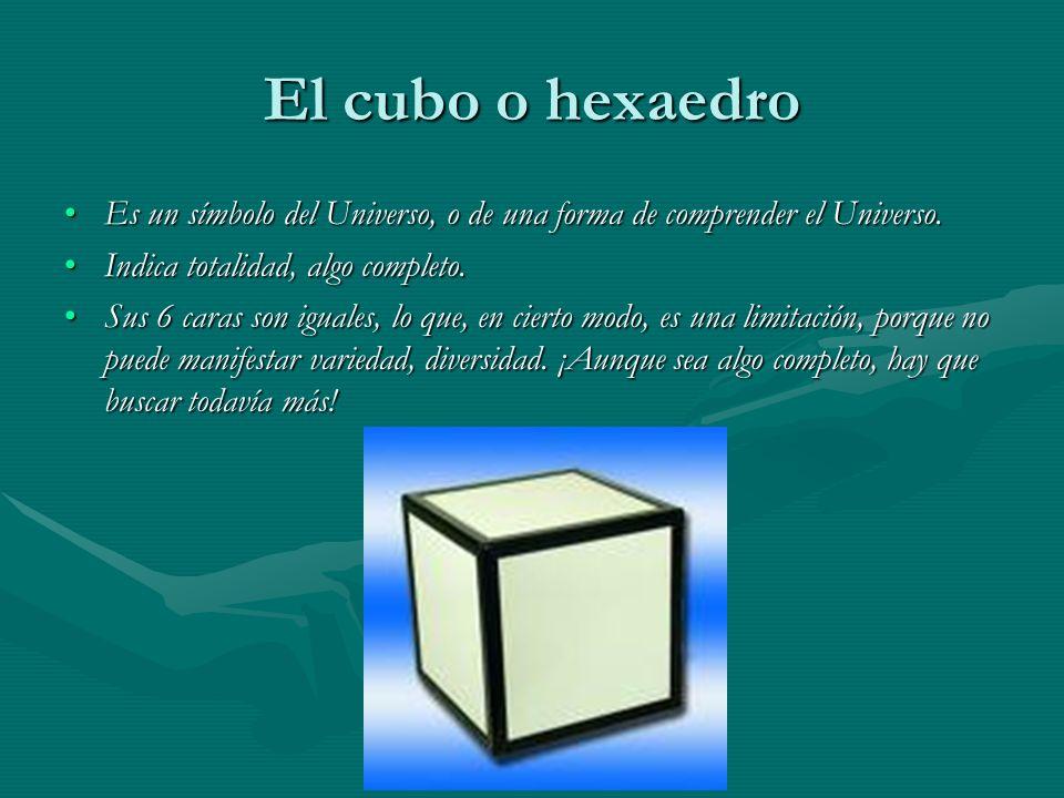 El cubo o hexaedro Es un símbolo del Universo, o de una forma de comprender el Universo. Indica totalidad, algo completo.