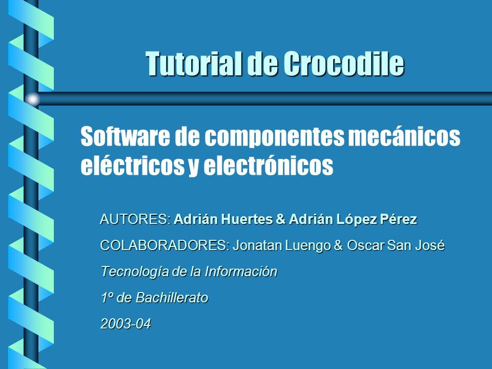 Tutorial de Crocodile Software de componentes mecánicos eléctricos y electrónicos. AUTORES: Adrián Huertes & Adrián López Pérez.