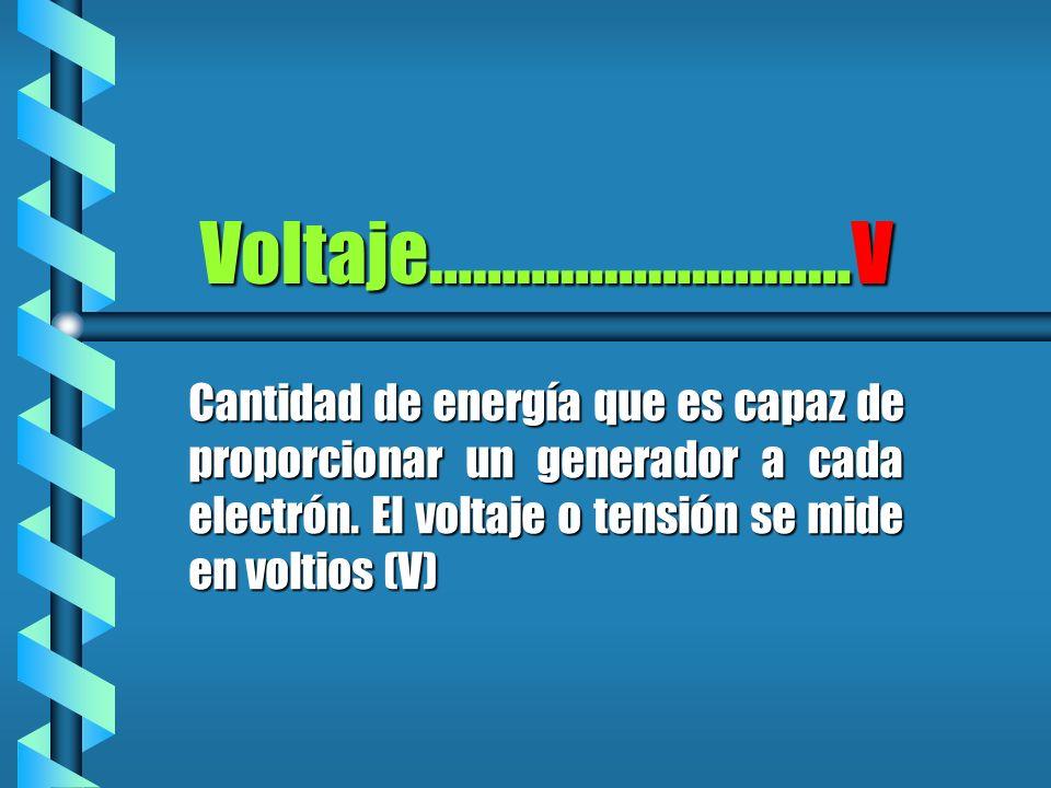 Voltaje………………..………VCantidad de energía que es capaz de proporcionar un generador a cada electrón.
