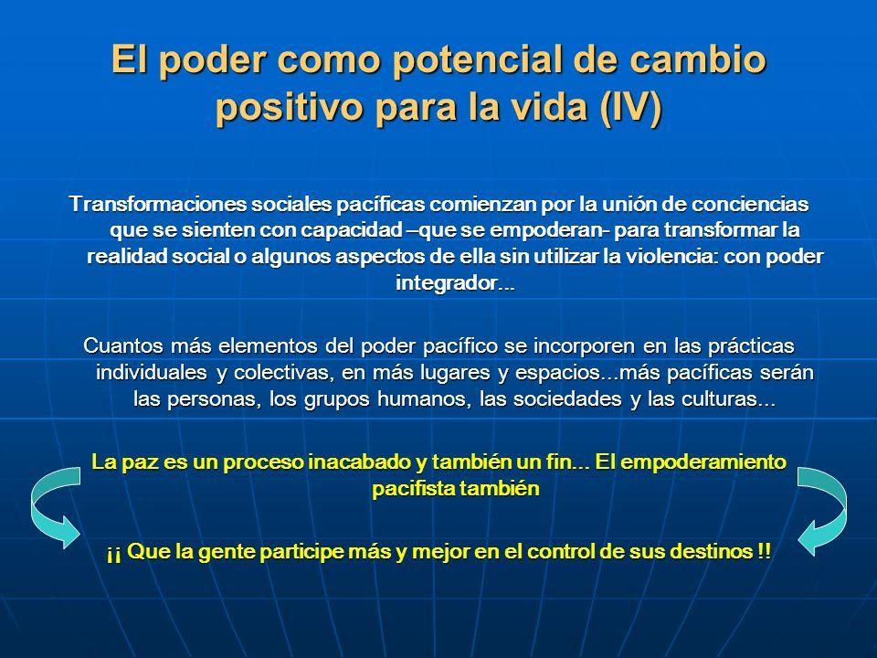 El poder como potencial de cambio positivo para la vida (IV)