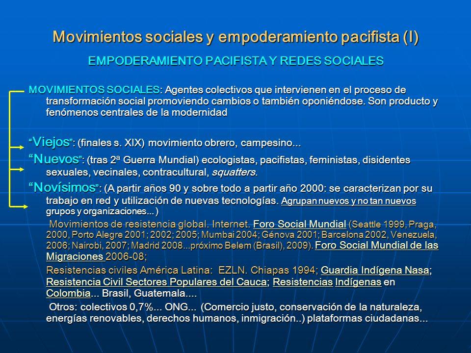 Movimientos sociales y empoderamiento pacifista (I)