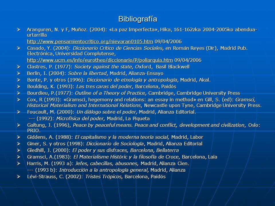 Bibliografía Aranguren, N. y F, Muñoz. (2004): «La paz Imperfecta», Hika, 161-162zka 2004-2005ko abendua-urtarrilla.