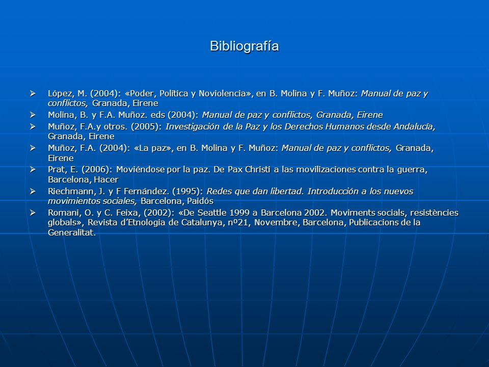 Bibliografía López, M. (2004): «Poder, Política y Noviolencia», en B. Molina y F. Muñoz: Manual de paz y conflictos, Granada, Eirene.