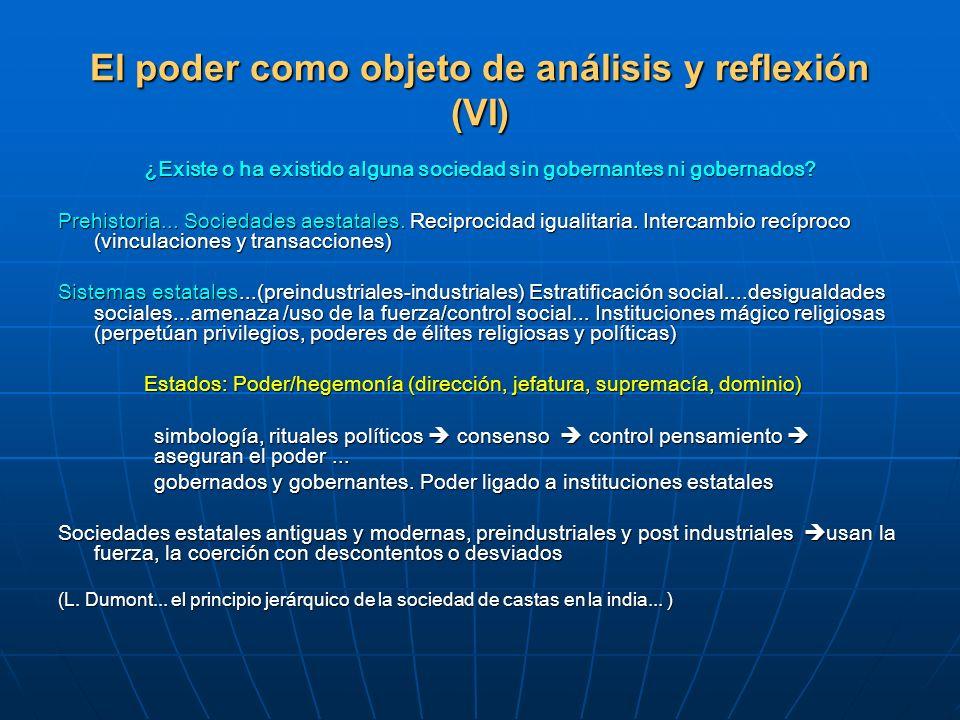 El poder como objeto de análisis y reflexión (VI)