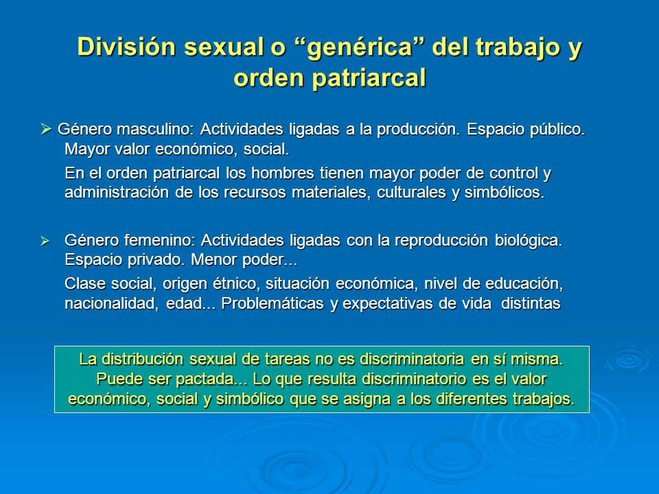 División sexual o genérica del trabajo y orden patriarcal