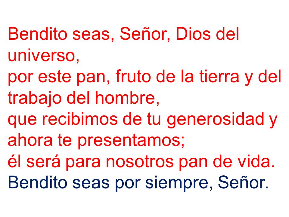 Bendito seas, Señor, Dios del universo,
