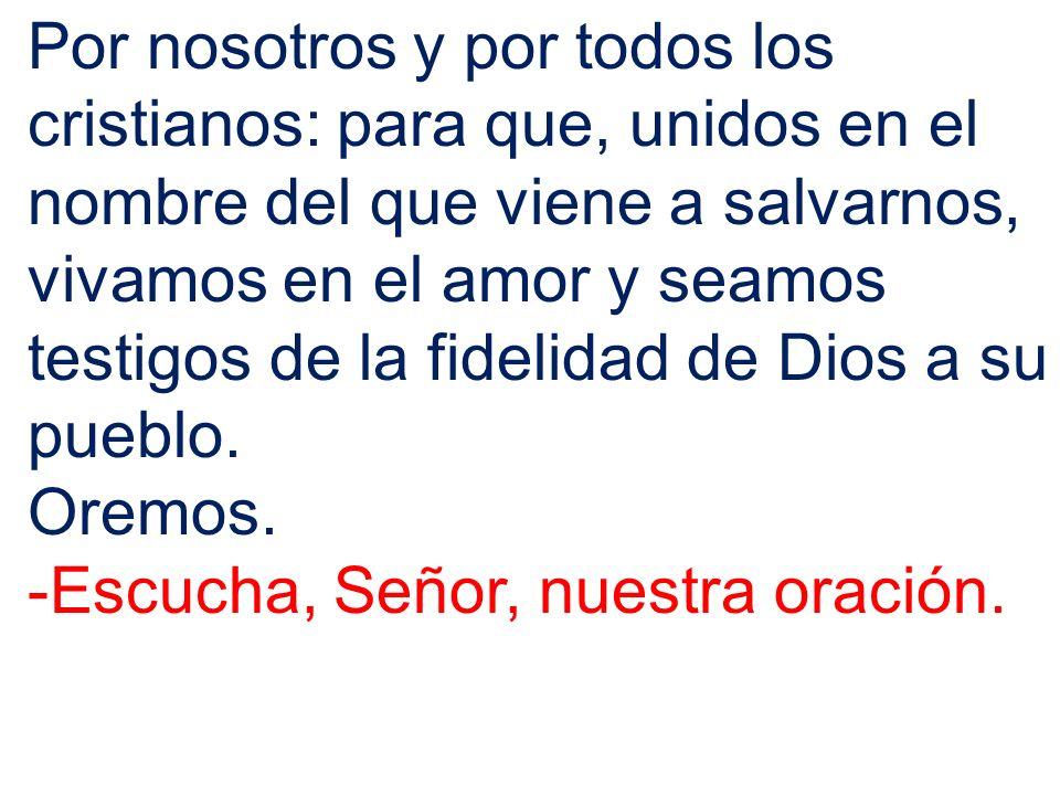 Por nosotros y por todos los cristianos: para que, unidos en el nombre del que viene a salvarnos, vivamos en el amor y seamos testigos de la fidelidad de Dios a su pueblo.
