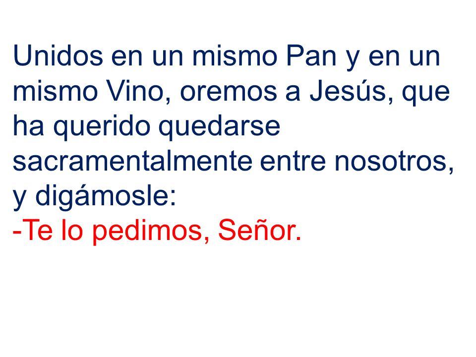 Unidos en un mismo Pan y en un mismo Vino, oremos a Jesús, que ha querido quedarse sacramentalmente entre nosotros, y digámosle: