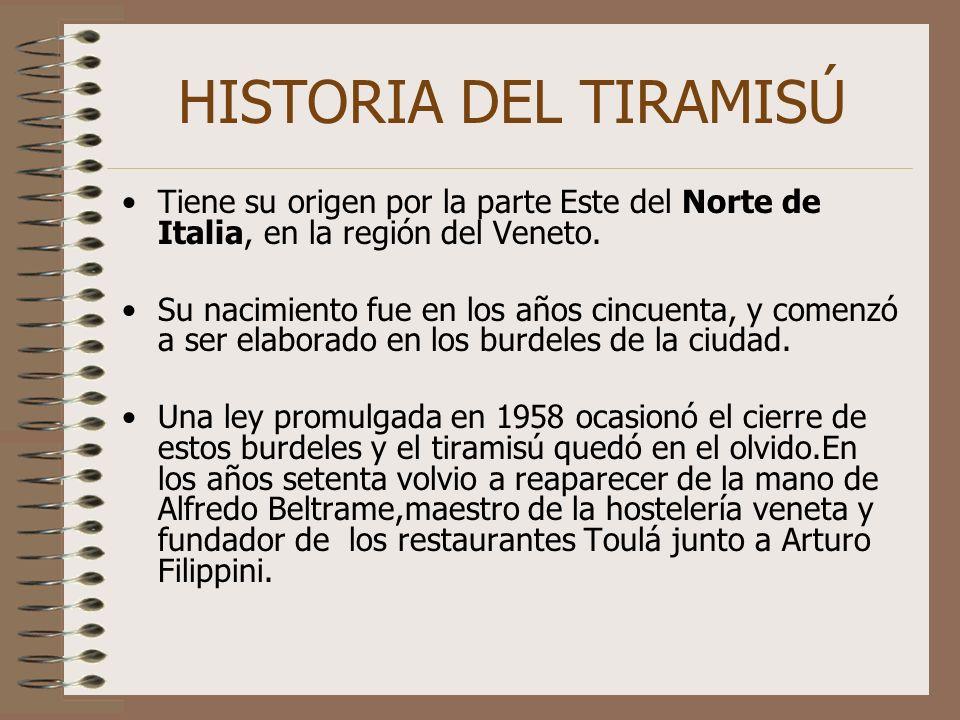 HISTORIA DEL TIRAMISÚ Tiene su origen por la parte Este del Norte de Italia, en la región del Veneto.