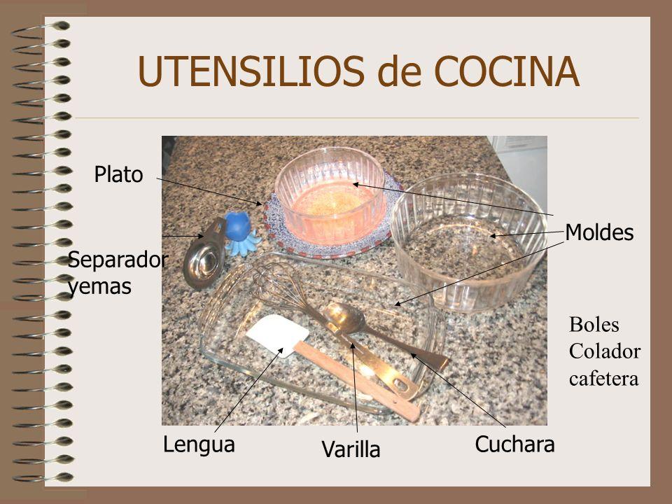 UTENSILIOS de COCINA Plato Moldes Separador yemas Boles Colador