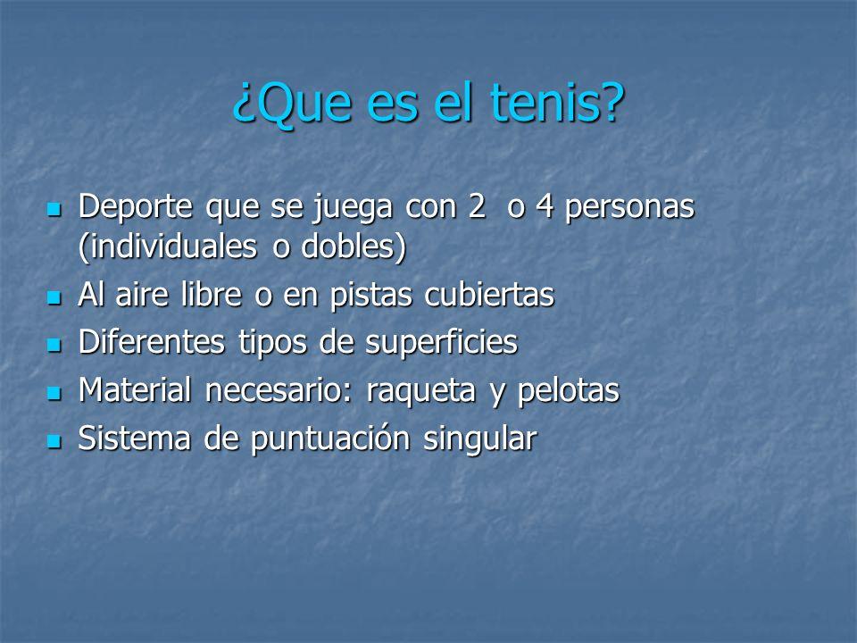 ¿Que es el tenis Deporte que se juega con 2 o 4 personas (individuales o dobles) Al aire libre o en pistas cubiertas.