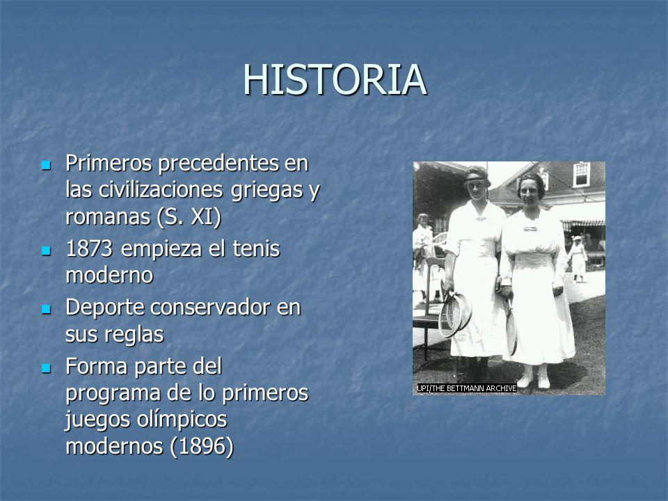 HISTORIA Primeros precedentes en las civilizaciones griegas y romanas (S. XI) 1873 empieza el tenis moderno.