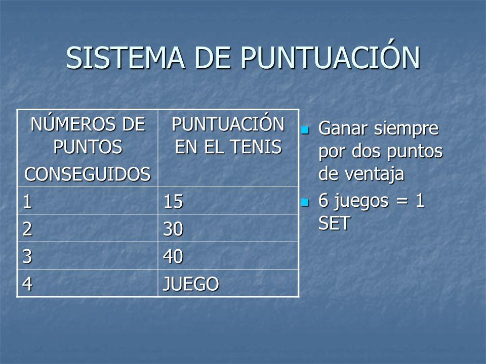 SISTEMA DE PUNTUACIÓN NÚMEROS DE PUNTOS CONSEGUIDOS