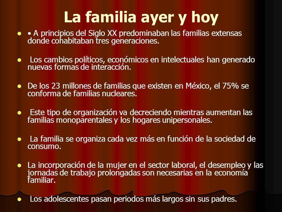 La familia ayer y hoy• A principios del Siglo XX predominaban las familias extensas donde cohabitaban tres generaciones.