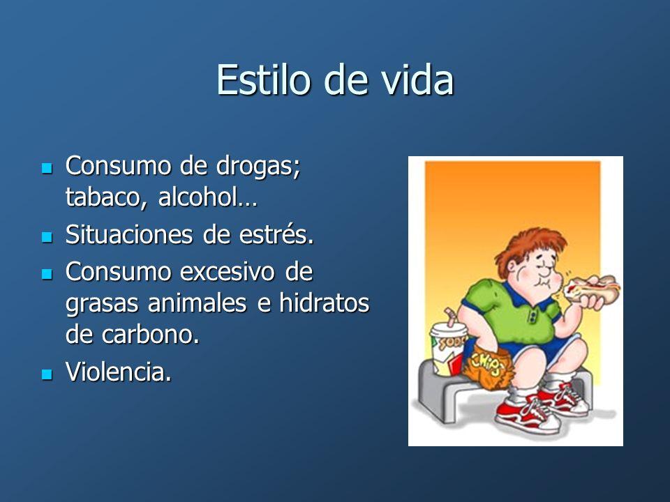 Estilo de vida Consumo de drogas; tabaco, alcohol…