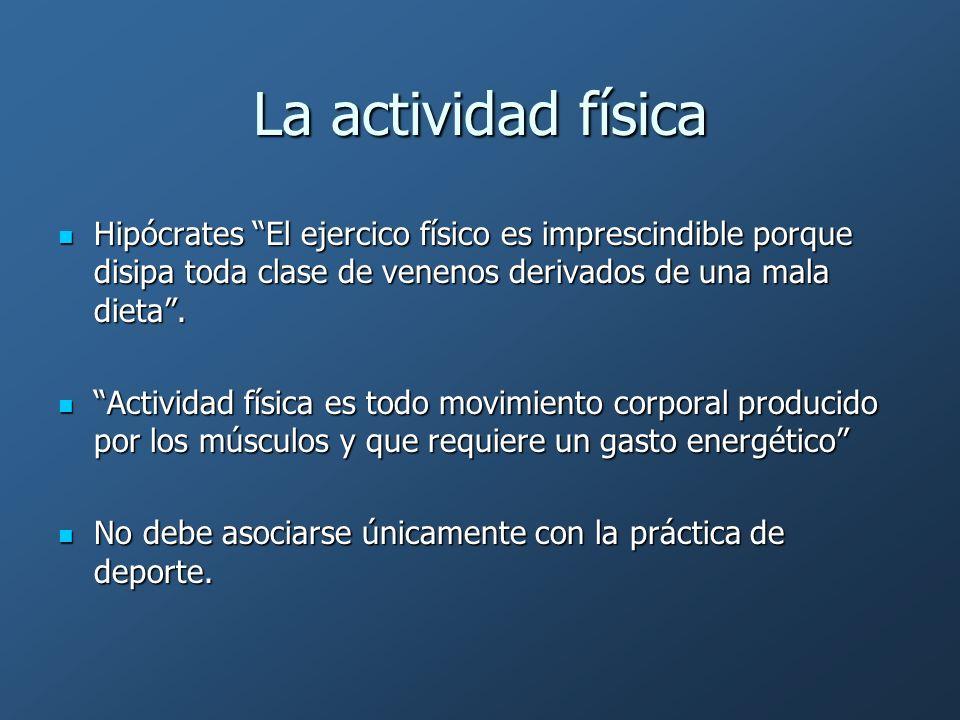 La actividad física Hipócrates El ejercico físico es imprescindible porque disipa toda clase de venenos derivados de una mala dieta .