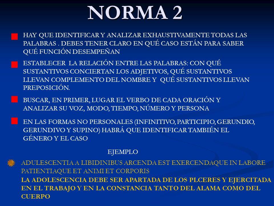 NORMA 2 HAY QUE IDENTIFICAR Y ANALIZAR EXHAUSTIVAMENTE TODAS LAS PALABRAS . DEBES TENER CLARO EN QUÉ CASO ESTÁN PARA SABER QUÉ FUNCIÓN DESEMPEÑAN.