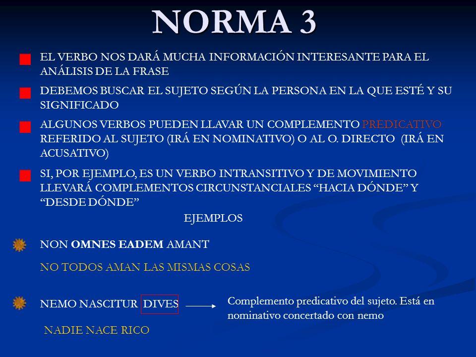 NORMA 3 EL VERBO NOS DARÁ MUCHA INFORMACIÓN INTERESANTE PARA EL ANÁLISIS DE LA FRASE.