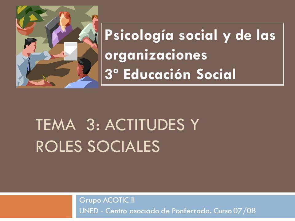 TEMA 3: ACTITUDES Y ROLES SOCIALES