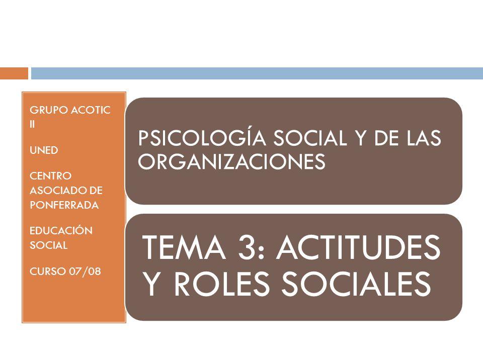 PSICOLOGÍA SOCIAL Y DE LAS ORGANIZACIONES