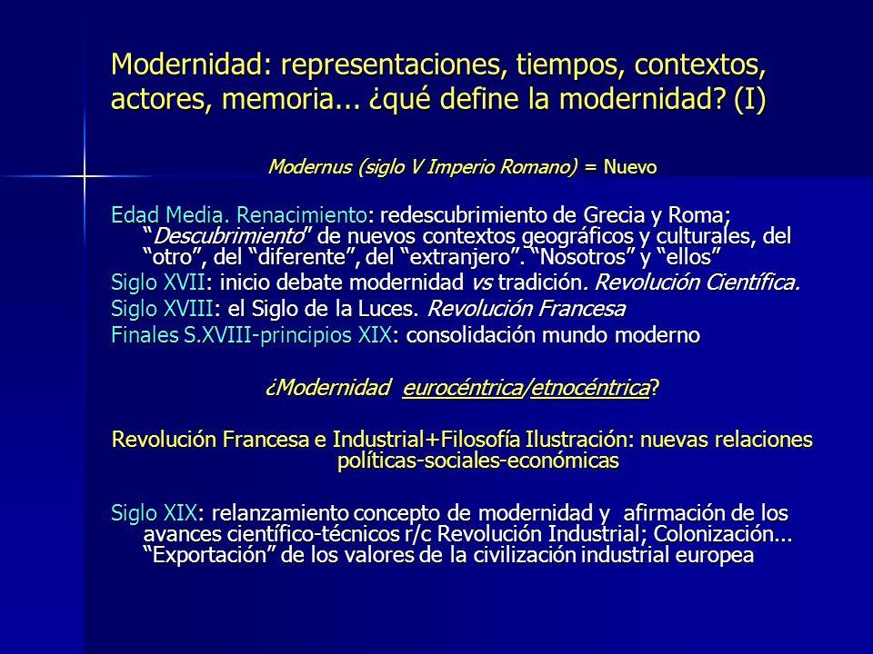 Modernidad: representaciones, tiempos, contextos, actores, memoria