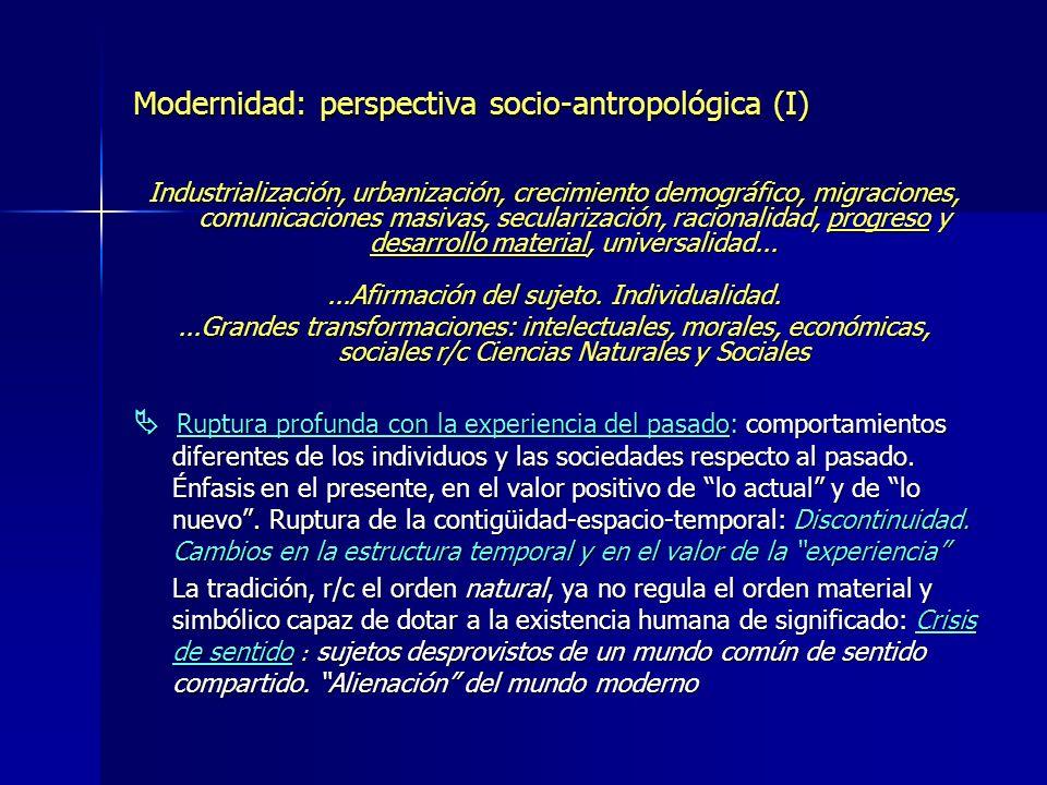 Modernidad: perspectiva socio-antropológica (I)