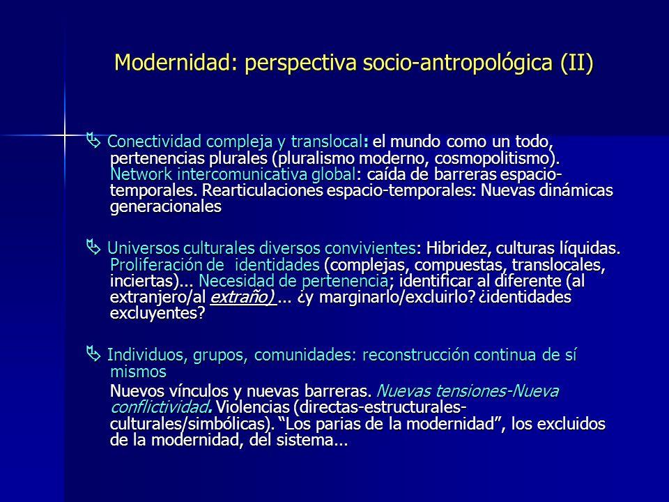 Modernidad: perspectiva socio-antropológica (II)