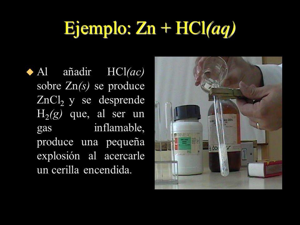 Ejemplo: Zn + HCl(aq)