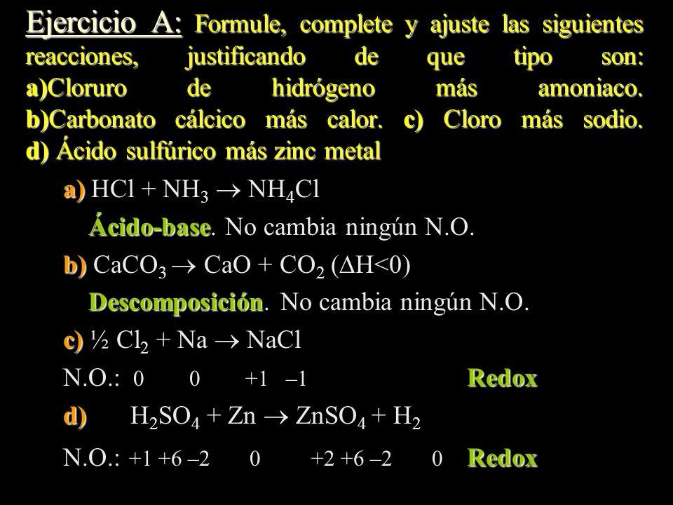Ejercicio A: Formule, complete y ajuste las siguientes reacciones, justificando de que tipo son: a)Cloruro de hidrógeno más amoniaco. b)Carbonato cálcico más calor. c) Cloro más sodio. d) Ácido sulfúrico más zinc metal