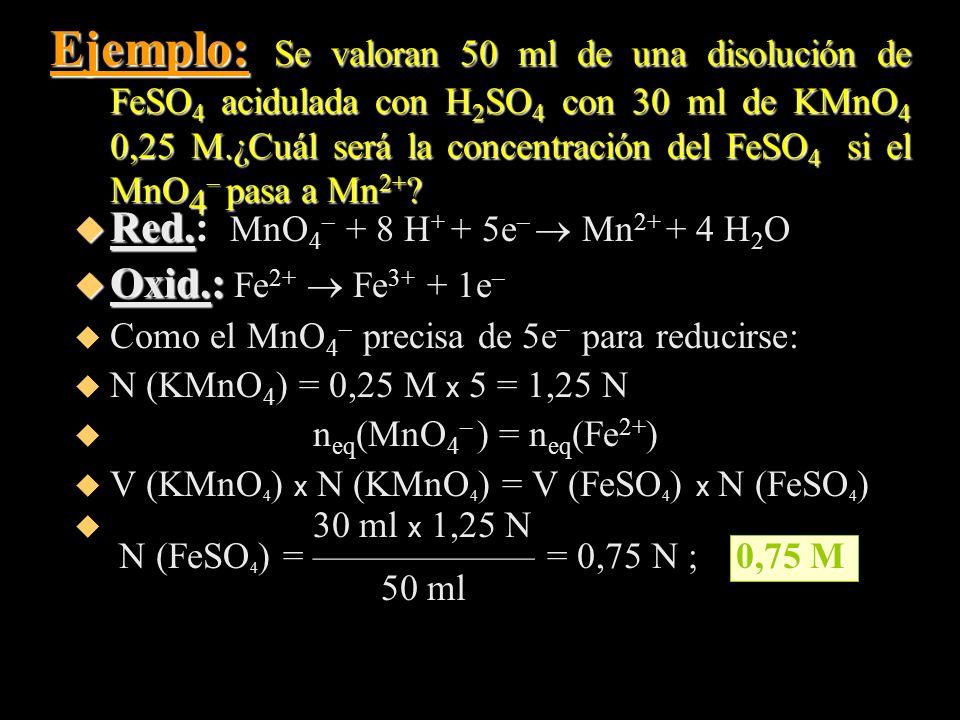 Ejemplo: Se valoran 50 ml de una disolución de FeSO4 acidulada con H2SO4 con 30 ml de KMnO4 0,25 M.¿Cuál será la concentración del FeSO4 si el MnO4– pasa a Mn2+