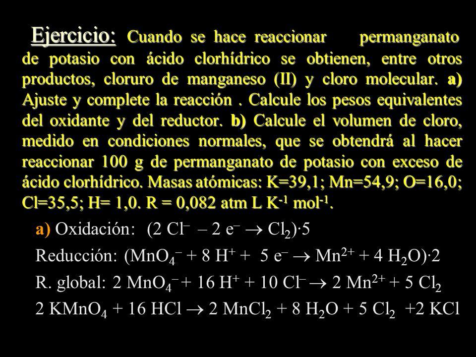 a) Oxidación: (2 Cl– – 2 e–  Cl2)·5