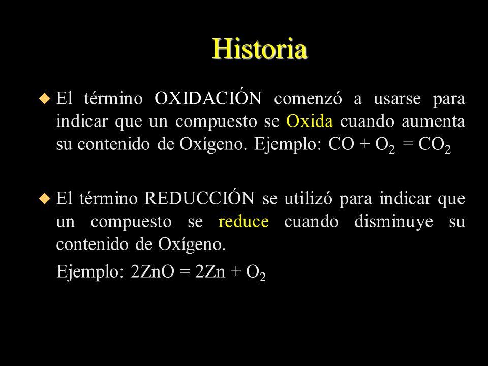 HistoriaEl término OXIDACIÓN comenzó a usarse para indicar que un compuesto se Oxida cuando aumenta su contenido de Oxígeno. Ejemplo: CO + O2 = CO2.