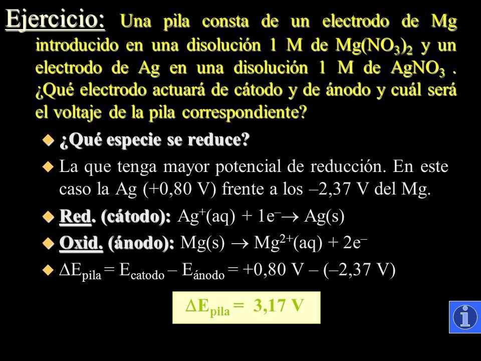 Ejercicio: Una pila consta de un electrodo de Mg introducido en una disolución 1 M de Mg(NO3)2 y un electrodo de Ag en una disolución 1 M de AgNO3 . ¿Qué electrodo actuará de cátodo y de ánodo y cuál será el voltaje de la pila correspondiente