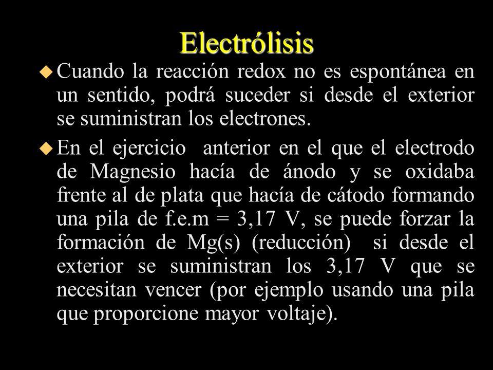 Electrólisis Cuando la reacción redox no es espontánea en un sentido, podrá suceder si desde el exterior se suministran los electrones.