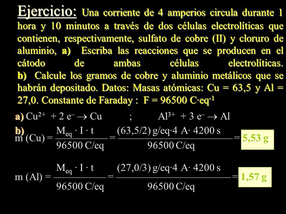 Ejercicio: Una corriente de 4 amperios circula durante 1 hora y 10 minutos a través de dos células electrolíticas que contienen, respectivamente, sulfato de cobre (II) y cloruro de aluminio, a) Escriba las reacciones que se producen en el cátodo de ambas células electrolíticas. b) Calcule los gramos de cobre y aluminio metálicos que se habrán depositado. Datos: Masas atómicas: Cu = 63,5 y Al = 27,0. Constante de Faraday : F = 96500 C·eq-1