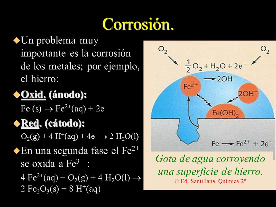 Corrosión. Un problema muy importante es la corrosión de los metales; por ejemplo, el hierro: Oxid. (ánodo):