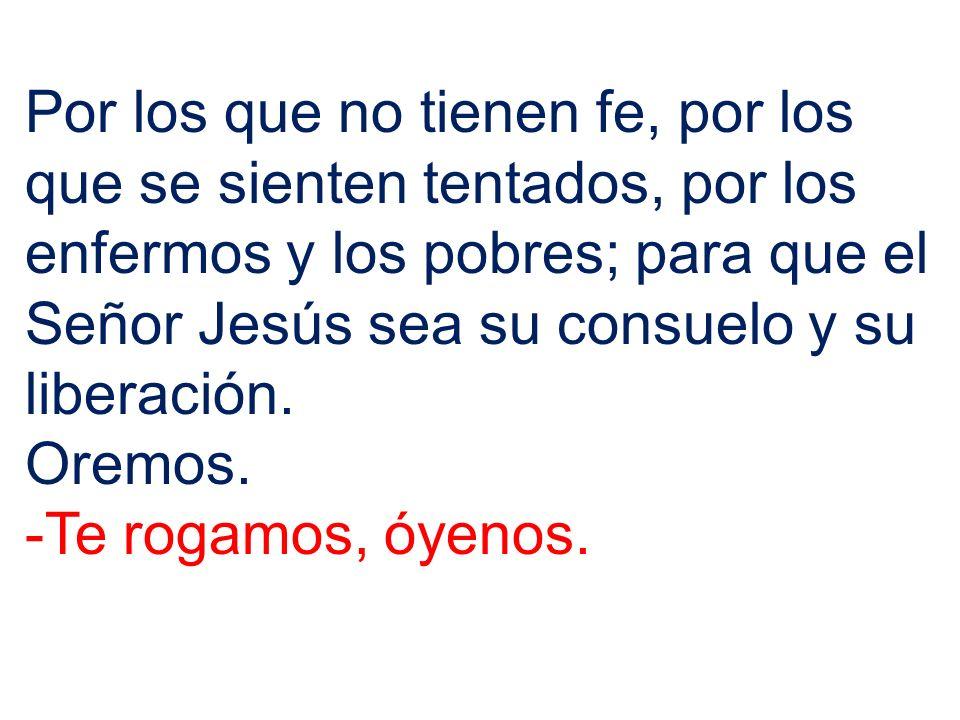 Por los que no tienen fe, por los que se sienten tentados, por los enfermos y los pobres; para que el Señor Jesús sea su consuelo y su liberación.