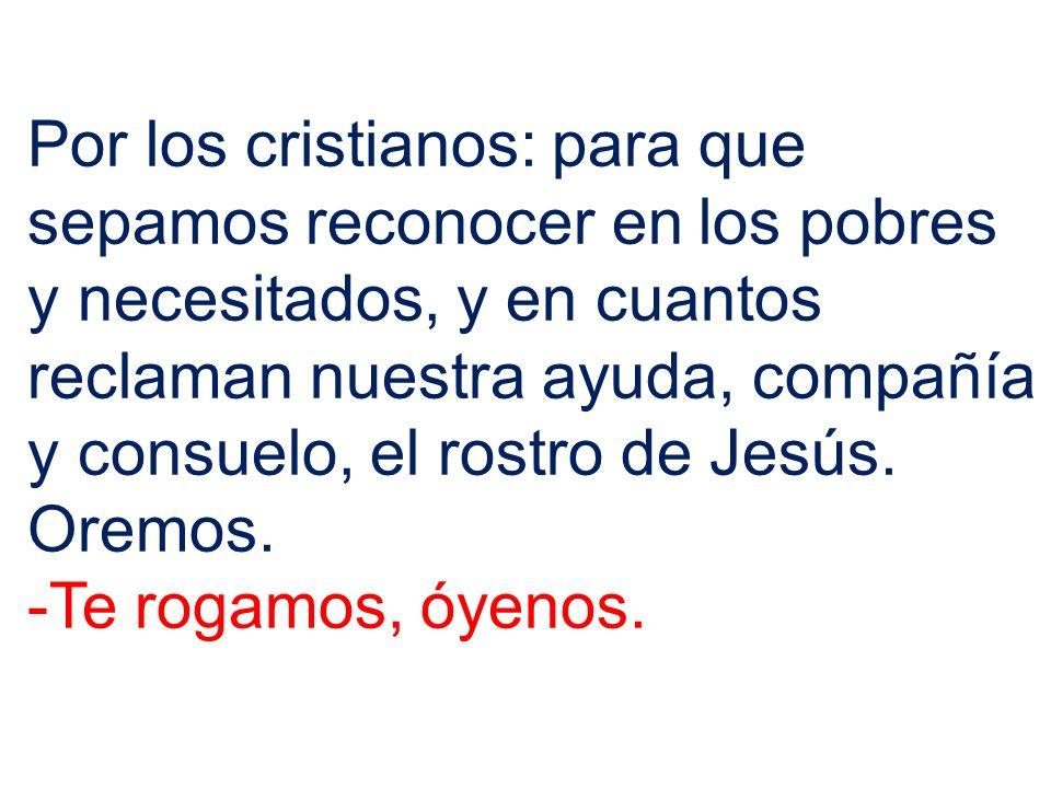 Por los cristianos: para que sepamos reconocer en los pobres y necesitados, y en cuantos reclaman nuestra ayuda, compañía y consuelo, el rostro de Jesús.