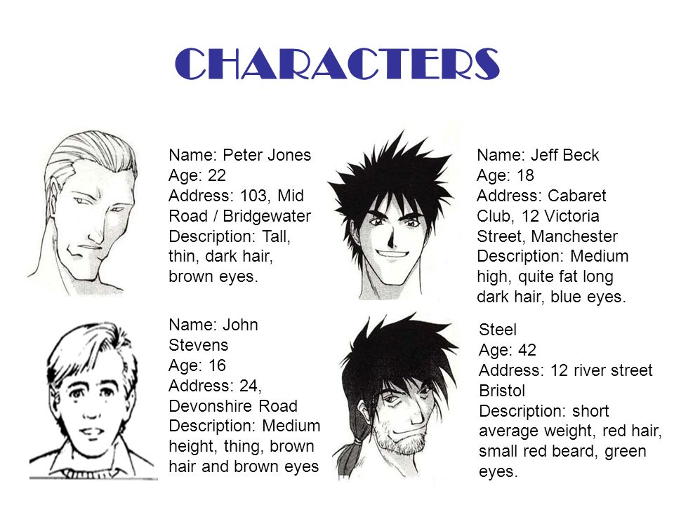 CHARACTERS Name: Peter Jones Age: 22