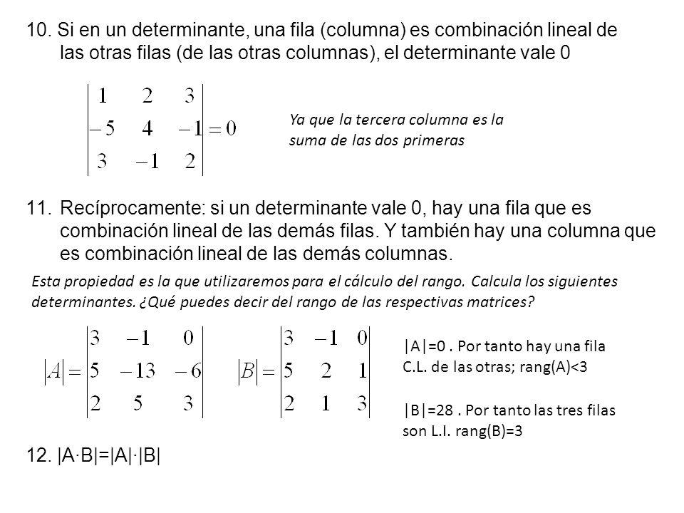 10. Si en un determinante, una fila (columna) es combinación lineal de las otras filas (de las otras columnas), el determinante vale 0