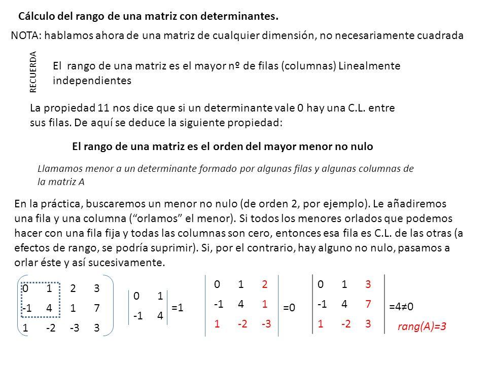 El rango de una matriz es el orden del mayor menor no nulo