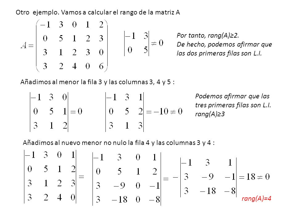 Otro ejemplo. Vamos a calcular el rango de la matriz A