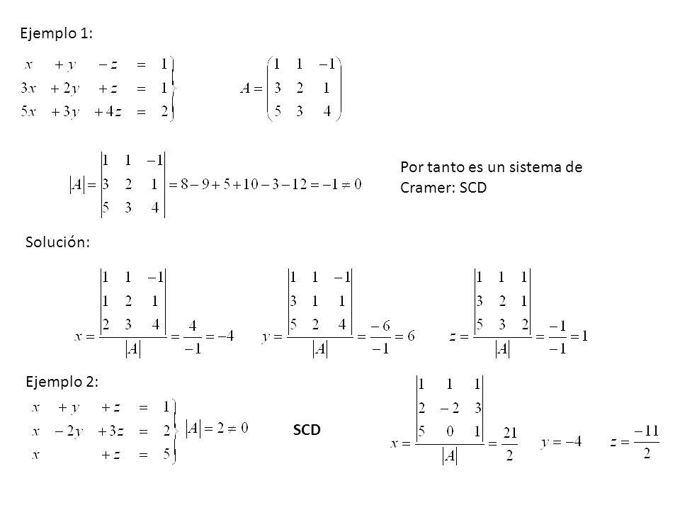 Ejemplo 1: Por tanto es un sistema de Cramer: SCD Solución: Ejemplo 2: SCD