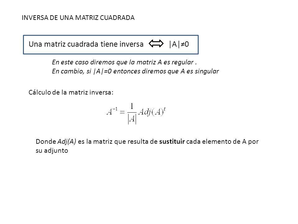 Una matriz cuadrada tiene inversa |A|≠0